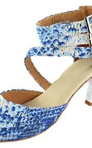 Customizable Women's Dance Shoes Latin/Ballroom Fabric Customized Heel Blue