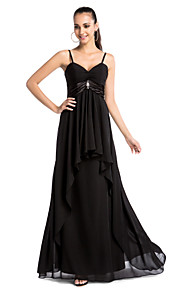 Formal Evening / Military Ball Dress - Black Plus Sizes / Petite Sheath/Column V-neck / Spaghetti Straps Floor-length Chiffon