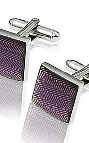 Gift Groomsman Purple Stripe Cufflinks