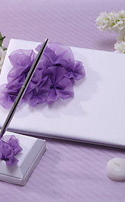 Elegant Wedding Guest Book And Pen Set With Lilac Flower Sign In Book