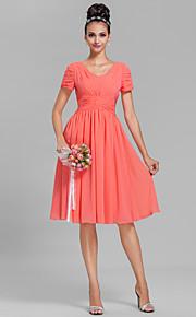 Lanting Bride Knee-length Chiffon Bridesmaid Dress Sheath / Column V-neck Plus Size / Petite with Draping / Ruching
