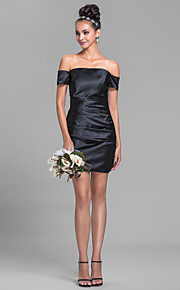 Short / Mini Stretch Satin Bridesmaid Dress - Sheath / Column Off-the-shoulder Plus Size / Petite with Side Draping