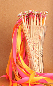 Pink&Yellow&Gold Wedding Ribbon Wand--(Set of 10)
