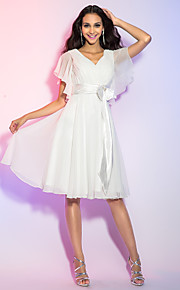 TS Couture® Cocktail Party / Holiday / Graduation Dress - Ivory Plus Sizes / Petite A-line / Princess V-neck Knee-length Chiffon