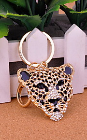 Cool Gold Alloy with Rhinestones Leopard Head Keychain