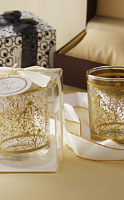 Gold Pattern Frosted Glass Candle Holder