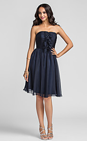 Knee-length Chiffon Bridesmaid Dress - Dark Navy Plus Sizes A-line Strapless