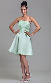 Knee-length Satin Bridesmaid Dress - Sage / Royal Blue / Ruby / Champagne / Grape Plus Sizes / Petite A-line Strapless