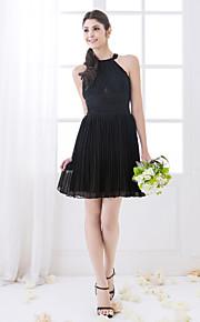 Lanting Short/Mini Chiffon Bridesmaid Dress - Black Plus Sizes / Petite Sheath/Column High Neck