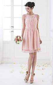 Knee-length Chiffon Bridesmaid Dress - Pearl Pink Plus Sizes A-line Jewel