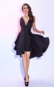 TS Couture Cocktail Party / Holiday Dress - Black Plus Sizes / Petite A-line Spaghetti Straps Knee-length Taffeta