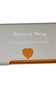 Personalized Heart Pattern Engraved Business Card Holder (Assorted Colors)