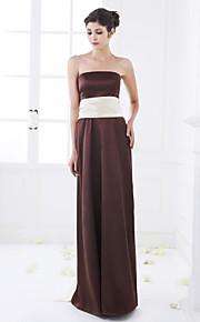 Floor-length Stretch Satin Bridesmaid Dress - Chocolate Plus Sizes A-line Strapless
