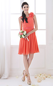 Homecoming Bridesmaid Dress Knee Length Chiffon And Stretch Satin A Line Scoop Dress (710802)