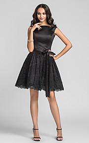 Homecoming Knee-length Charmeuse/Lace Bridesmaid Dress - Black Plus Sizes A-line/Princess Bateau
