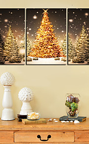 Stretched Canvas Print Art Gold Christmas Tree Set of 3