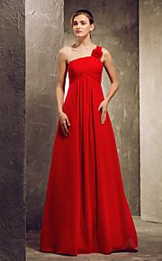A-line Strapless hem-length Satin Bridesmaid Dress