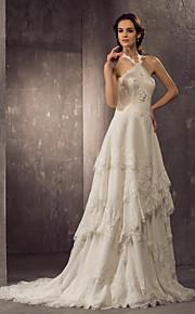 lanting vaina / columna más el tamaño de vestido de novia - marfil cabestro tren de la corte de la gasa / de encaje