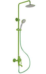 Pittura Contemporanea Verde Termina tre fori singola maniglia Sidespray cascata rubinetto doccia
