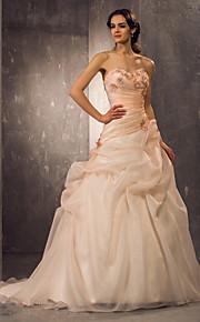 Lanting una línea / princesa pequeña / más el tamaño de vestido de novia - la perla de la corte del amor rosado de tren de organza