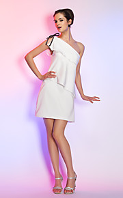 Cocktail Party / Graduation / Holiday Dress - Ivory Plus Sizes / Petite Sheath/Column One Shoulder Short/Mini Stretch Satin