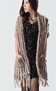 gilet de fourrure avec manches col fourrure de lapin et laine parti / veste décontractée (plus de couleurs)