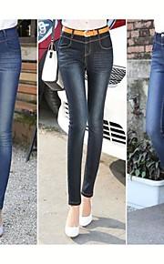 TS-Elastizität hohe Taille dünn Washed Jeans