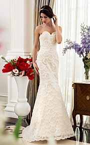 lanting trompeta / sirena vestido de novia de maternidad - marfil barrido / cepillo tren de novia de satén / cordón