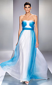 Formal Evening/Prom/Military Ball Dress - Ocean Blue Plus Sizes A-line Strapless Floor-length Chiffon
