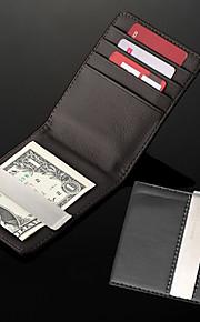 Gepersonaliseerde Gift Heren zwart pu lederen Metal Money Clip (binnen 8 tekens)