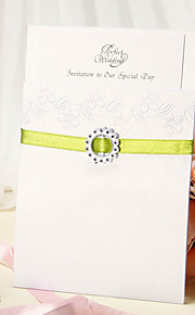 Wrap & Pocket Wedding Invitation With Green Ribbon - Set of 12