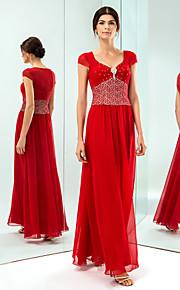 Formal Evening/Military Ball Dress - Ruby Plus Sizes Sheath/Column V-neck Floor-length Chiffon/Lace