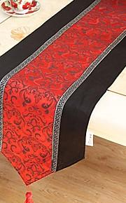 Kinesisk stil røde Polyester sammenføjning bordløber