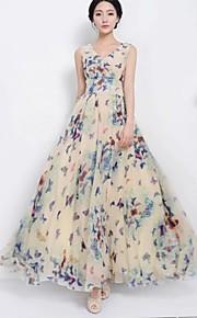 Damen Kleid - Swing Retro Druck Maxi Chiffon Rundhalsausschnitt