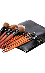 18Pcs Cosmetic Brush Tools with Black Leatherette Pouch
