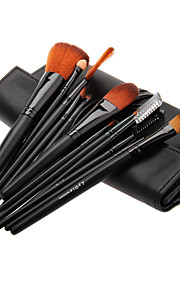 12PCS Wooden Handle Makeup Brush Set with Black Leatherette Pouch