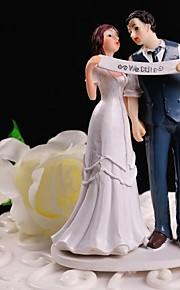 Décorations de Gâteaux Non personnalisée Couple classique Résine Mariage Blanc / Bleu Thème floral / Thème classique Boîte à cadeau