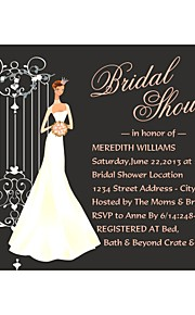 "Personalized ""Elegant Bride"" Bridal Shower Cards - Set of 12"
