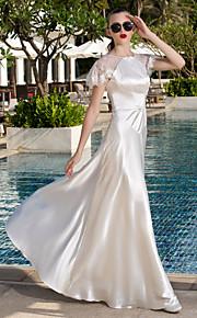 Lanting una línea de vestido de novia tallas grandes - palabra de longitud de encaje marfil cucharada / satén del estiramiento