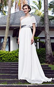 Lanting una línea más el tamaño de vestido de novia - marfil tren de barrido / cepillo de un solo hombro Georgette / satén del estiramiento
