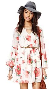 Damen Kleid - Skater Blumen Mini Polyester V-Ausschnitt