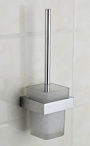 Chrom Finish Latão Toliet escova Holder, L11.2cm x W10.2cm x H35.5cm