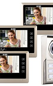 "7 ""LCD touch Key Video telefono del portello del campanello Home Iscrizione Intercom per 3 famiglie"