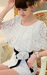 Pink Doll Women's Romantic Lace Short Sleeve Waist Dress