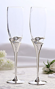 Elegant Silver Plated Toasting Flutes With Rhinestone
