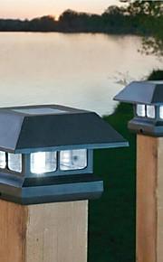2-led blanc après solaire chapeau lumière clôture de pont de montage lampe de clôture de jardin en plein air