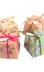 Flower Pattern Ivory Board Faovr Boxes - Set of 12 (More Colors)