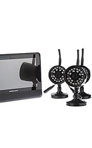 """Digital trådløs kamera med 7 """"TFT LCD-DVR, 4CH Quad Home Storage Security System"""