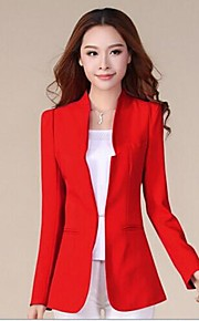Women's Collarless Candy Color Long Sleeve Blazer