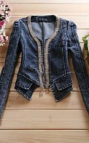 Zian® Women's V Neck Zip Decor Short Denim Coat